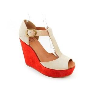 Lucky Brand Sandy Women Open Toe Suede Beige Wedge Heel