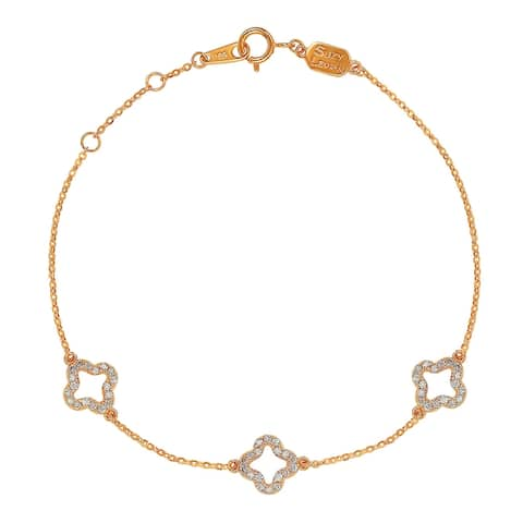 Suzy Levian 14K Rose Gold & .27 cttw Diamond Clover by the yard Bracelet