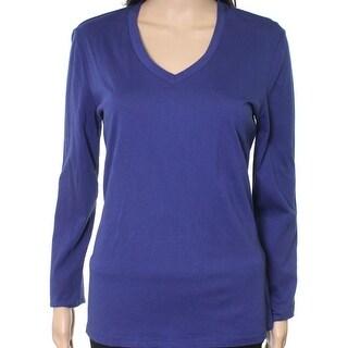 Lord & Taylor NEW Blue Women's Size Medium M V-Neck Long Sleeve Tee T-Shirt