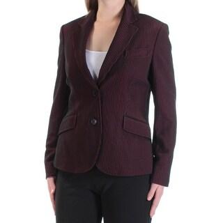 ANNE KLEIN $149 Womens New 1440 Black Red Striped Wear To Work Blazer 8 B+B