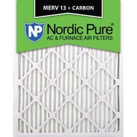 Nordic Pure 16x25x1 MERV 13 Plus Carbon AC Furnace Air Filters Qty 12