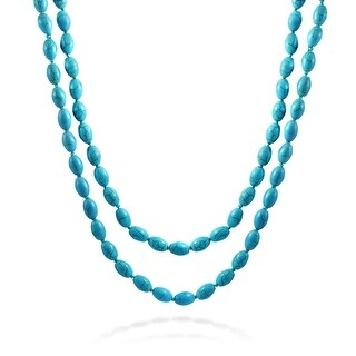 Bling Jewelry Reconstituted Turquoise Long Strand Necklace 46 Inches - Blue