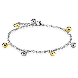 Gold and Silver Ball Beads with Heart Dangling Charm Chain 316L Stainless Steel Anklet/Bracelet (13.5 mm) - 9.75 in