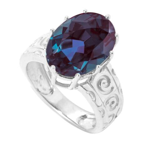 Sterling Silver with Color Changing Alexandrite Solitaire Swirl Engravework Ring