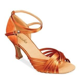Sansha Adult Dark Tan Satin Twisted Strap Ashley Ballroom Shoes Womens