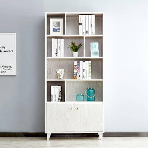 White Wooden 8-shelf Storage Bookshelves Standard Display Bookcase