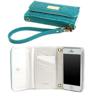 JAVOedge Vintage Quilted Wallet Case for the Apple iPhone 5s, iPhone 5 (Turquoise) - Turquoise