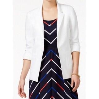 Tommy Hilfiger NEW White Women's Size 12 One-Button Boyfriend Jacket