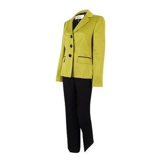Le Suit Women's Prague Three Buttons Pants Suit - citrine/black