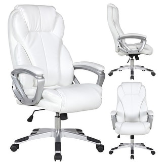2xhome White Leather Deluxe Professional Ergonomic High Back Executive Office Chair Free Shipping Today 14047067