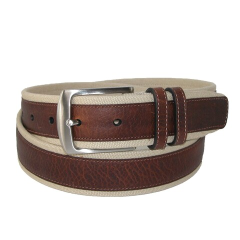 Nautica Men's Canvas and Leather Overlay 1 3/8 Inch Belt