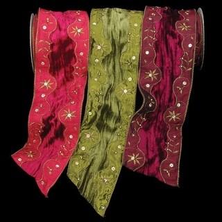 "Burgundy Velvet Darjeeling with Diamonds Wired Craft Ribbon 4"" x 10 Yards"