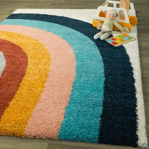 Amelia Rainbow Print Shag Boy & Girl Kids Area Rug