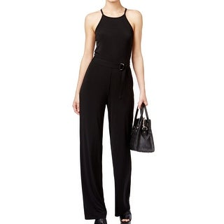 Michael Kors NEW Black Women's Large L Belted Strappy Solid Jumpsuit