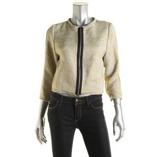 Rachel Rachel Roy Womens Metallic Long Sleeve Crop Blazer - S