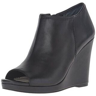 BCBGeneration Womens Karlyn Leather Peep-Toe Wedge Boots - 7.5 medium (b,m)