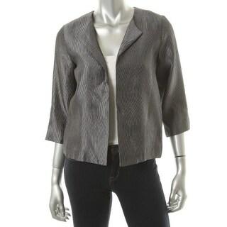 Eileen Fisher Womens Silk Textured Open-Front Blazer - M