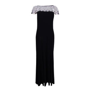 R&M Richards Women's Beaded-Trim A-Line Gown - Black