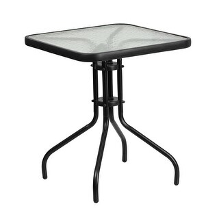 Skovde Square 23.5'' Tempered Glass Metal Table for Patio/Bar