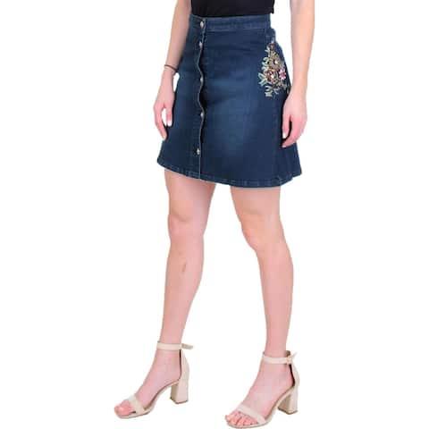 Juicy Couture Black Label Womens A-Line Skirt Embellished Denim