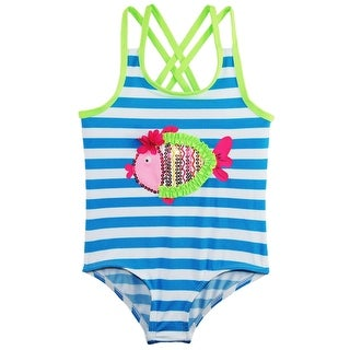 Wippette Toddler Girls All Over Stripes Fish Applique 1-Piece Swimsuit