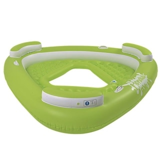 "76"" Green Triangular Inflatable ""Honolulu"" Three Person Swimming Pool Lounge"