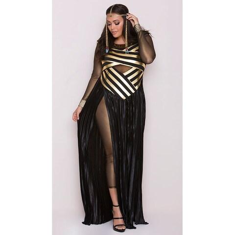 Plus Size Goddess Isis Costume, Plus Size Egyptian Costume - Black/Gold