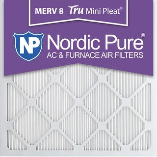 Nordic Pure 25x25x1 MERV 12 Tru Mini Pleat AC Furnace Air Filters 2 Pack