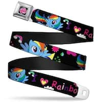"My Little Pony Logo Full Color Black Pink I ""Heart"" Rainbow Dash Black Seatbelt Belt"