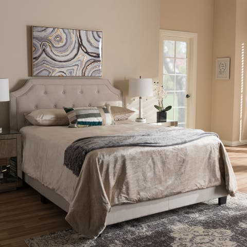 Willis Modern and Contemporary Light Beige Fabric Upholstered King Size Bed