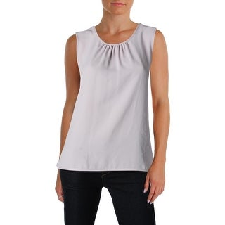 Anne Klein Womens Shell Gathered Sleeveless