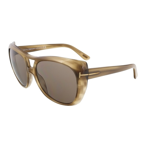 Tom Ford TF 294/S 59J Claudette Khaki Full Rim Oversized Aviator Sunglasses - 59-16-135