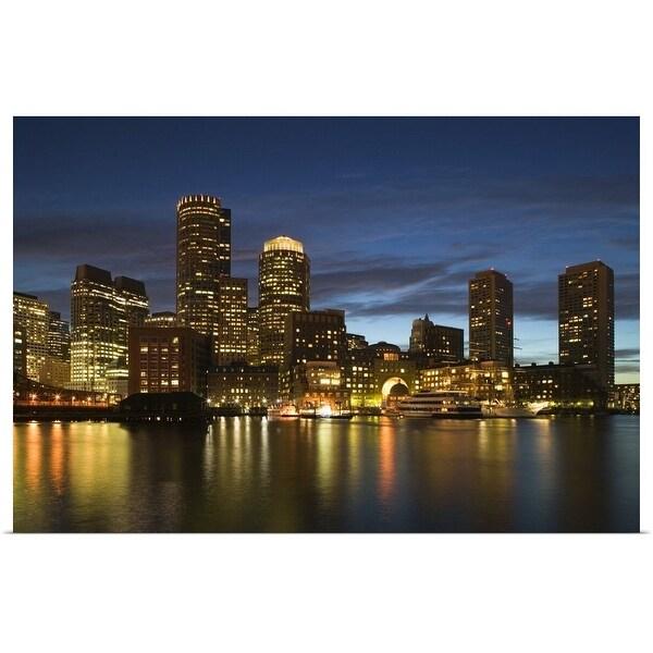 """Massachusetts, Boston, skyline, night"" Poster Print"