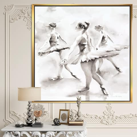 Designart 'watercolors Ballerinas Dance I' French Country Framed Canvas - Grey