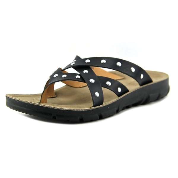 White Mountain Bailout Women Open Toe Canvas Black Thong Sandal