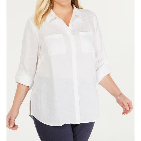 Charter Club Women's White Size 16W Plus Relaxed Button Down Shirt