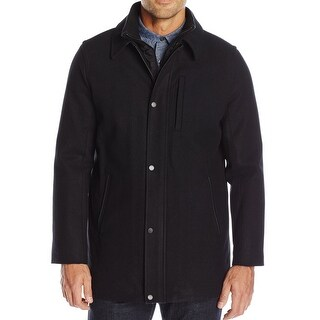 Calvin Klein NEW Black Mens Size Large L Layered Bibbed Wool Car Coat