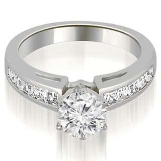 Link to 1.50 CT Channel Princess & Round Diamond Engagement Ring in 14KT Gold - White H-I Similar Items in Wedding Rings