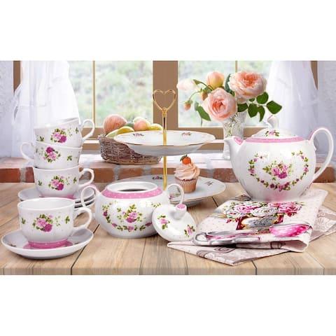 STP-Goods Marquise 14-Pc Porcelain Tea Set for 6