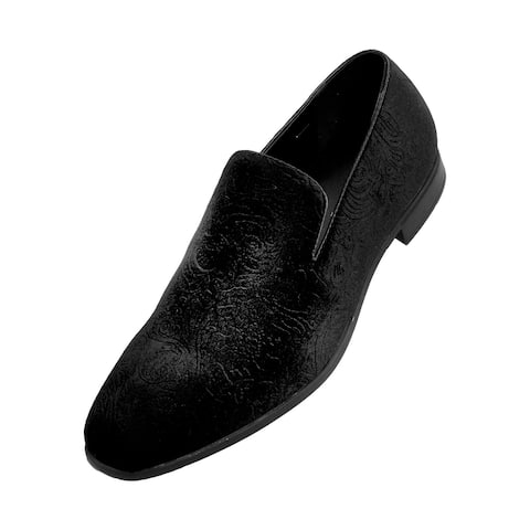 Bolano Men's Paisley Embossed Velvet Dress Shoes