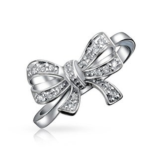 Bling Jewelry Sterling Silver Cubic Zirconia Ribbon Bow Ring Rhodium Plated