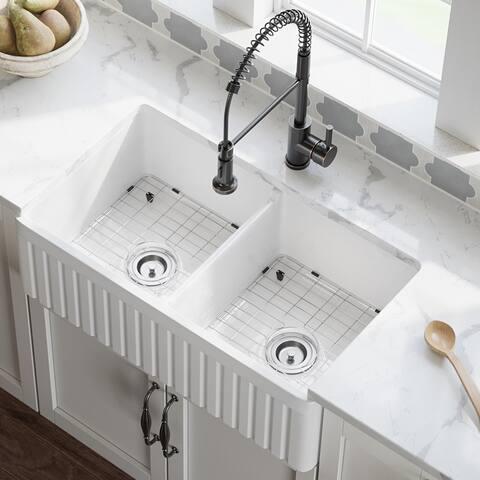MR Direct 416 Fireclay Farmhouse Kitchen Sink, Ensemble
