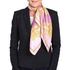 Versace Women's Gold Ornamental Printed Silk Scarf Pink Purple