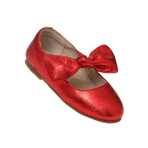 L`Amour Little Girls Red Celia Knotted Bow Mary Jane Shoes