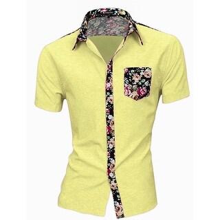 Unique Bargains Men's Button Up Floral Prints Splicing Design Shirt
