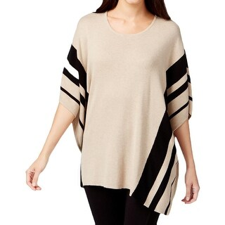 Calvin Klein Womens Poncho Sweater Knit Striped