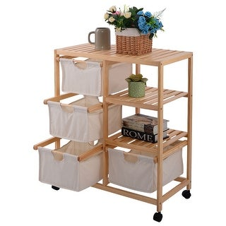 Costway Wood Hamper 2 Section Storage Shelf Unit W/4 Fabric Drawers Home Furniture - as pic