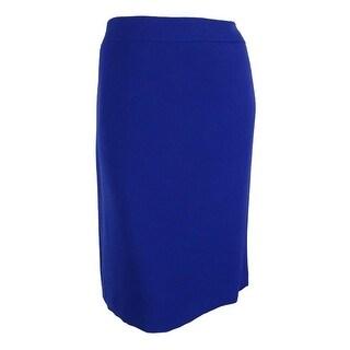 Tahari Women's Plus-Size Classic Solid Pencil Skirt - ROYAL