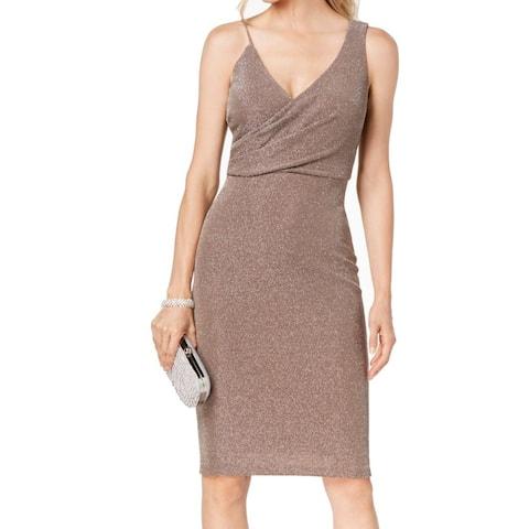 Betsy & Adam Womens Dress Beige 2 Shimmer Surplice Asymmetrical V-Neck