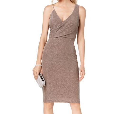 Betsy & Adam Womens Dress Beige 6 Shimmer Surplice Asymmetrical V-Neck